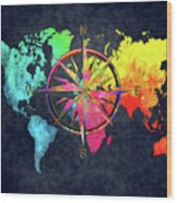 Map Of The World Wind Rose 6 Wood Print