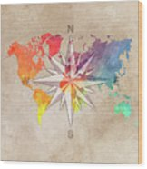 Map Of The World Wind Rose 7 Wood Print