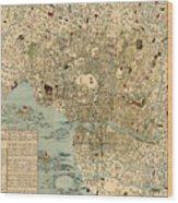 Map Of Tokyo 1854 Wood Print