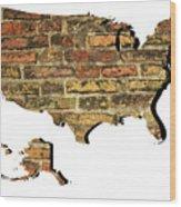 Map Of Usa And Wall. Wood Print