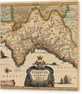Map Of Valencia 1634 Wood Print
