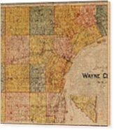 Map Of Wayne County Michigan Detroit Area Vintage Circa 1893 On Worn Distressed Canvas  Wood Print