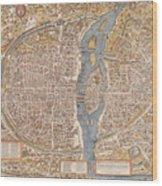 Map Paris Wood Print