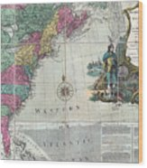 Map Showing The 13 British Colonies Wood Print