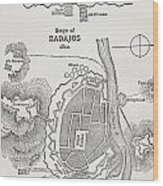 Map Showing The Site Of The Siege Of Wood Print