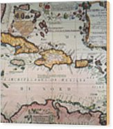 Map: West Indies Wood Print