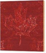 Maple Leaf Filigree Pattern Wood Print