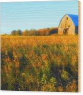 Maple Ridge Fall Barn Wood Print