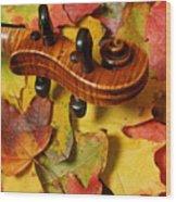 Maple Violin Scroll On Fall Maple Leaves Wood Print