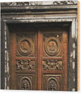 Marais Doorway Wood Print