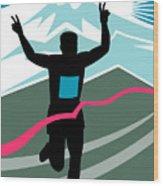Marathon Race Victory Wood Print