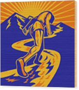 Marathon Runner Or Jogger On Mountain Road  Wood Print by Aloysius Patrimonio