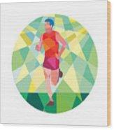 Marathon Runner Running Circle Low Polygon Wood Print