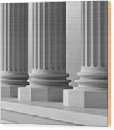 Marble Pillars Building Detail. 3d Illustration Wood Print