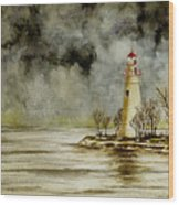 Marblehead Lighthouse In The Winter Wood Print