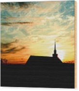 March Church Sunset  Wood Print