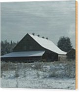 March Snows On The Barn Wood Print