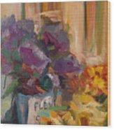 Marche' Aux Fleurs Wood Print