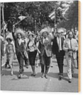 Marchers Wearing Hats Carry Puerto Rican Flags Down Constitution Avenue Wood Print