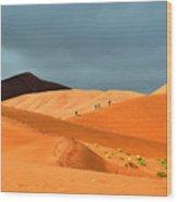 Marching On Sossusvlei Dunes Wood Print