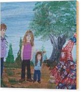 Mardi Gras Beggar And The Children Wood Print