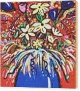 Mardi Gras Floral Explosion Wood Print