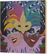 Mardi Gras In Colour Wood Print