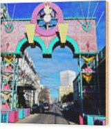 Mardi Gras In Galveston Wood Print