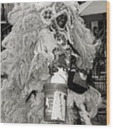 Mardi Gras Indian In Pirates Alley In Black And White Wood Print