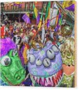 Mardi Gras Mob Wood Print