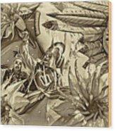 Mardi Gras - New Orleans 3 - Sepia Wood Print