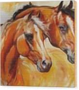Mare And Stallion  By M Baldwin Sold Wood Print by Marcia Baldwin