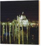 Maria Della Salute In Venice At Night Wood Print