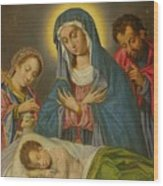 Maria San Jose Y Santa Ines Contemplando Al Nino Wood Print