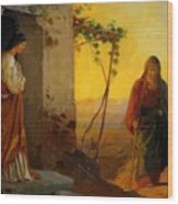 Maria Sister Of Lazarus Meets Jesus Who Is Going To Their House Wood Print
