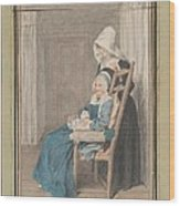 Marie Louise Petit At The Age Of 105, With Her Young Nurse Wood Print