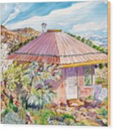 Marie's Straw Bale House Wood Print