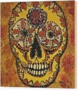 Marigold Skull Wood Print
