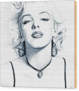 Marilyn Black And White Wood Print