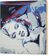 Marilyn Monroe Blue And Red Detail Wood Print