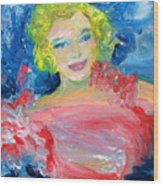 Marilyn Monroe In Pink And Blue Wood Print