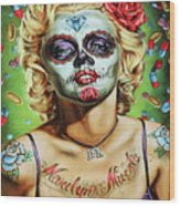 Marilyn Monroe Jfk Day Of The Dead  Wood Print