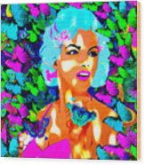 Marilyn Monroe Light And Butterflies Wood Print
