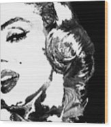 Marilyn Monroe Painting - Bombshell Black And White - By Sharon Cummings Wood Print