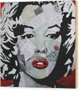 Marilyn Monroe Red Flower Wood Print