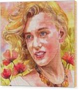 Marilyn Monroe With Poppies Wood Print
