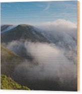 Marin Headlands Fog Rising - Sausalito Marin County California Wood Print