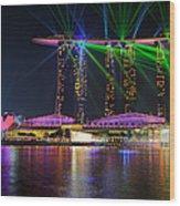 Marina Bay Sands Lasershow Wood Print