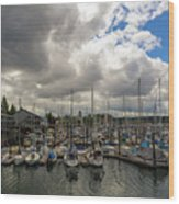 Marina In Olympia Washington Waterfront Wood Print