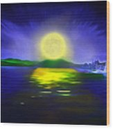 Marina Moonrise Wood Print